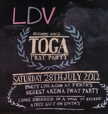 Chalkboard art: Toga party