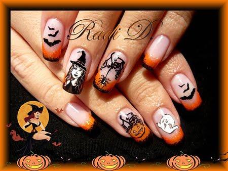 Дълги нокти - Маникюр с декорация за Halloween
