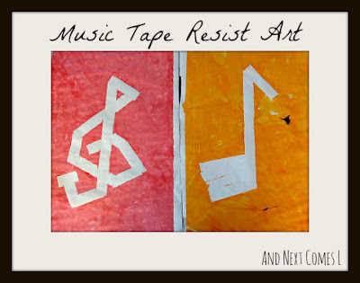 Music tape resist art for kids from And Next Comes L