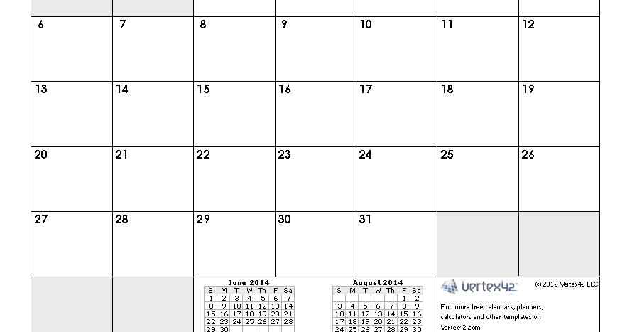 July 2014 Calendar Printable 1 Printable Calendar 2014