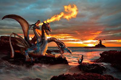 Dragones lanzando fuego en las tinieblas