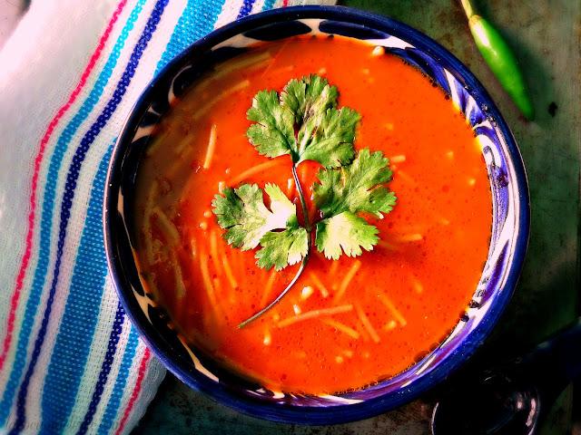 Sopa de Fideo Aguado con Cuatro Chiles - lacocinadeleslie.com