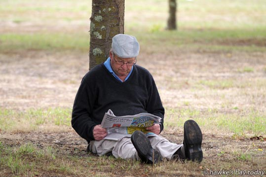 Discerning reader takes a break with Hawke's Bay Today photograph