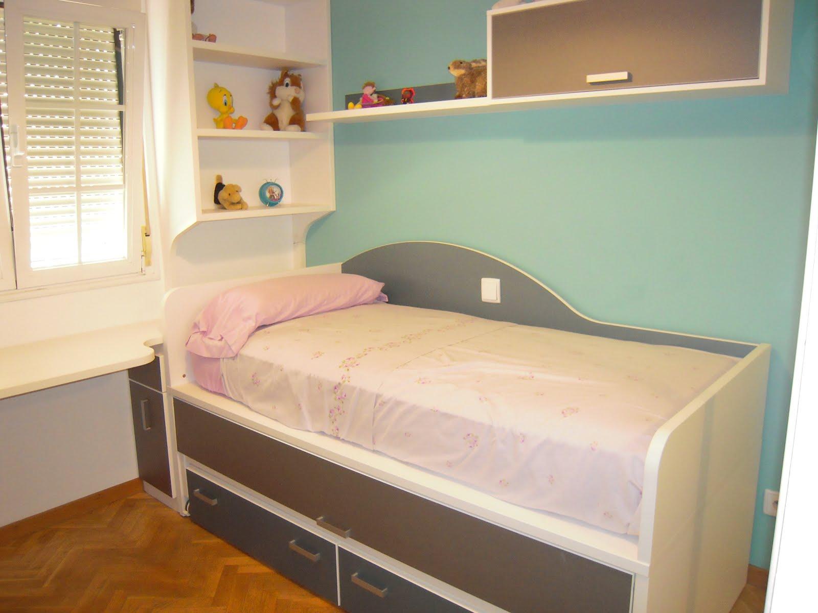 Dormitorio juvenil con cama compacto - Habitacion con literas para ninos ...