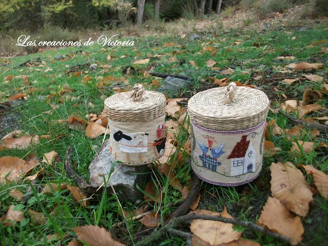 Las creaciones de Victoria. Patchwork. Cubre cestas country.
