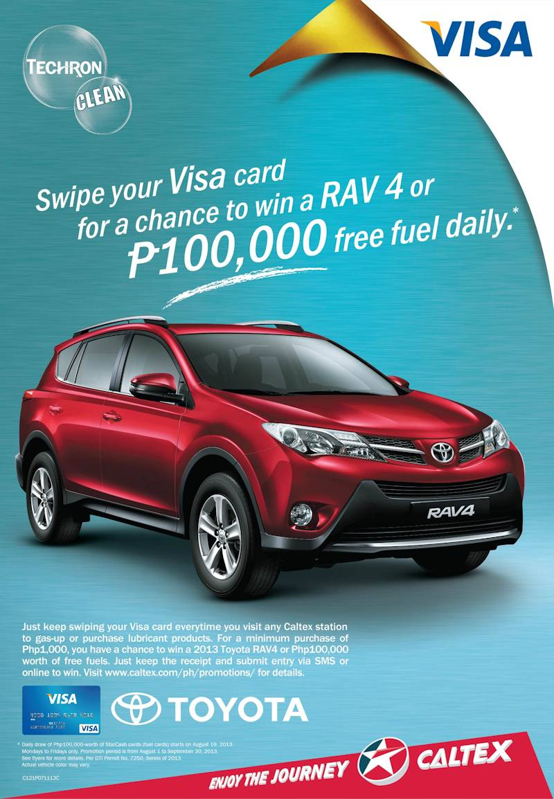 Swipe to drive a new toyota rav4 in caltex visa promo