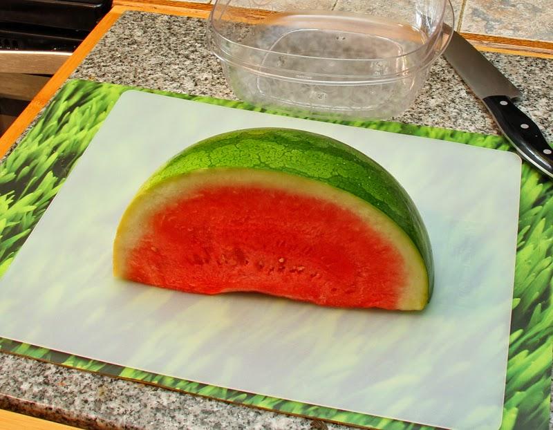 Slice watermelons into chunks