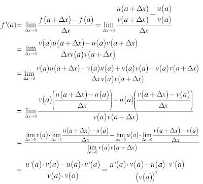 Turunan Fungsi y = u/v