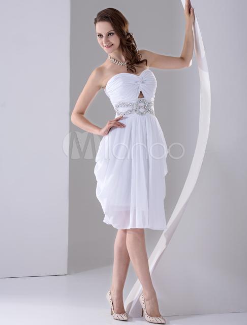 China Wholesale Homecoming Dresses - White Strapless A-line Beading Satin Chiffon Homecoming Dress