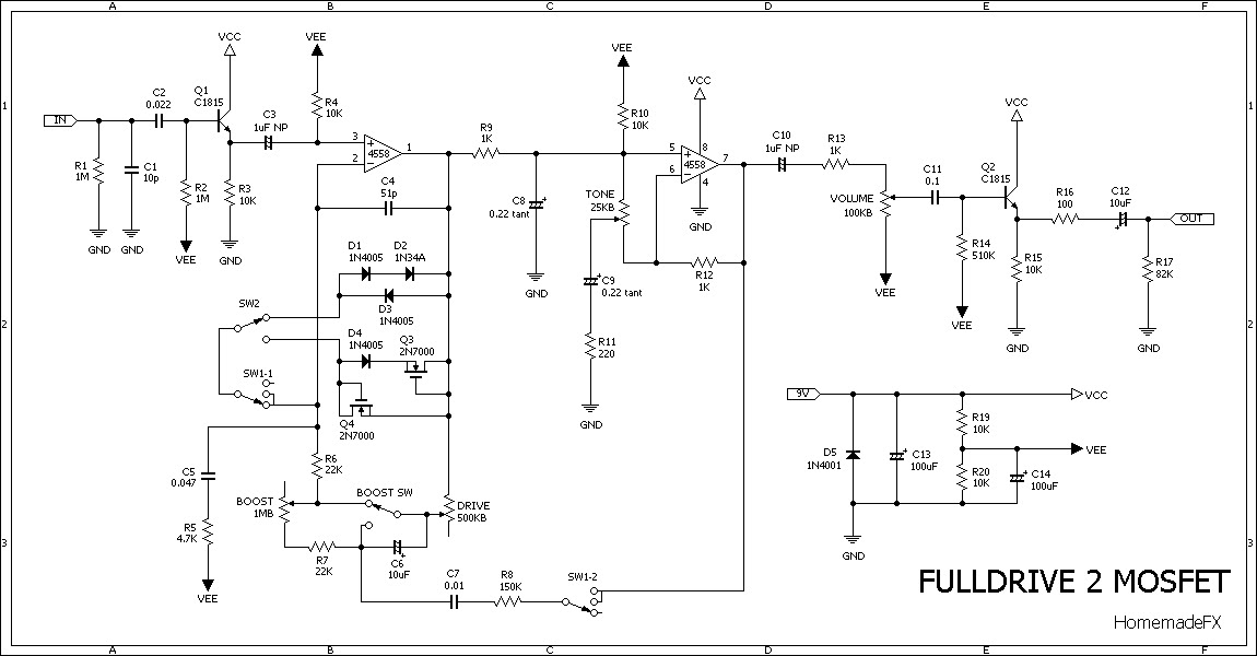 Fulldrive Deadringer Mosfet Overdrive on toggle switch schematic