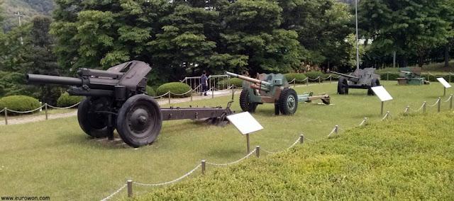 Cañones de artillería usados en la Guerra de Corea