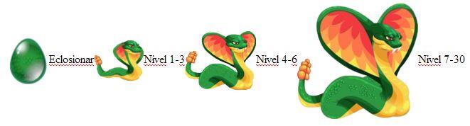crecimiento del dragon serpiente cascabel adulto