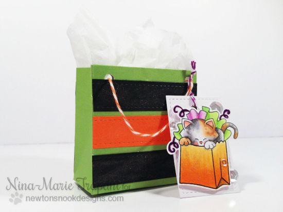 Cat Halloween Treat bag and tag by Nina-Marie Trapani | Newton's Birthday Bash stamp set by Newton's Nook Designs #newtonsnook