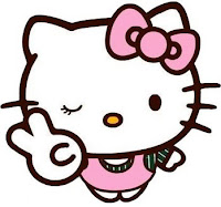 Hello Kitty making the peace sign while winking
