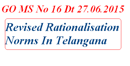 Rvised Rationalisation Norms in Telangana, GO MS 16