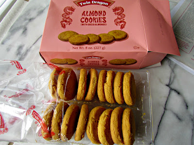 Almond cookies next to their box
