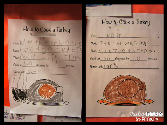 FREE - How to cook a turkey writing prompt