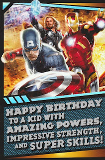 Front of Avengers 2012 birthday card from Hallmark