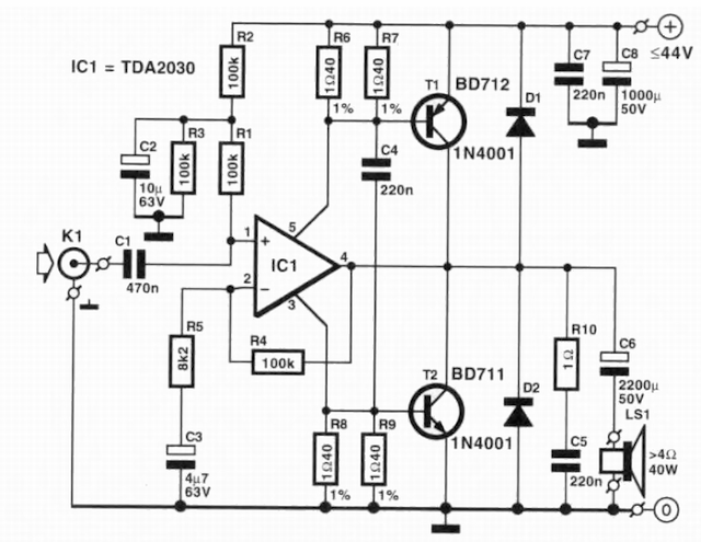 circuit diagram knowledge  tda2030 audio amplifier 1 x40w