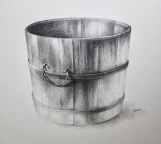 Original graphite drawing of water bucket by Carroll Jones III third in series