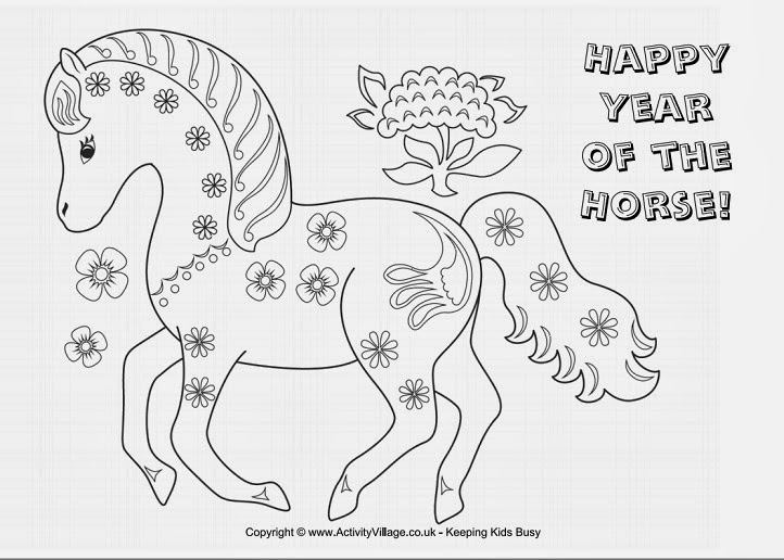 CNY chinese new year coloring pages year of the horse title=