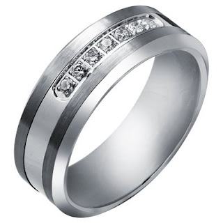 Tungsten Carbide Diamond Men's Wedding Band