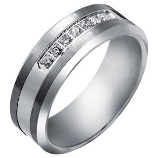 Tungsten Carbide Diamond Men's Wedding Band