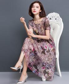 Short Sleeve Pastel Purple Blooms Past Knee Length Dress