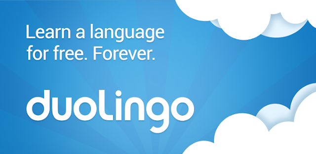 "The Duolingo company logo over a blue sky background.  The tagline reads, ""Learn a language for free. Forever."""