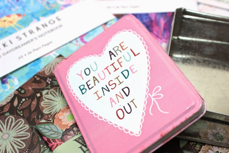 A sweet pink tin from Lisa Angel, which reads 'You are beautiful inside and out'
