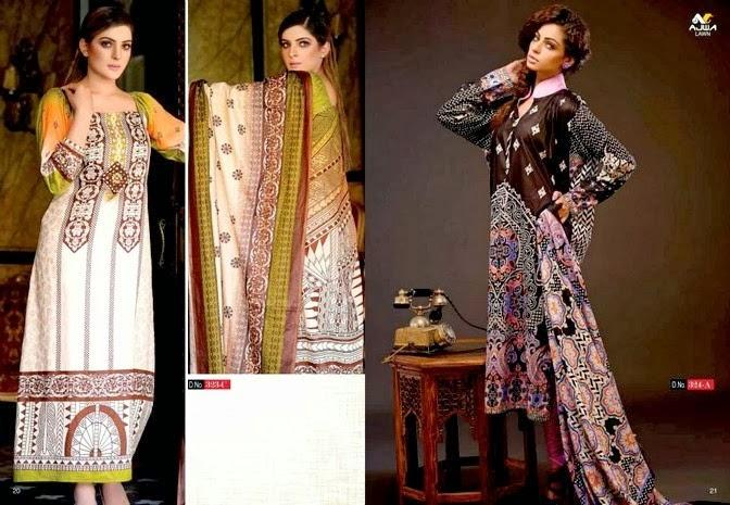 Ajwa Textile Lawn Dresses 2014