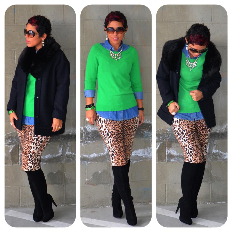OOTD: Leopard Pencil Skirt + Denim & Green + Faux Fur ...