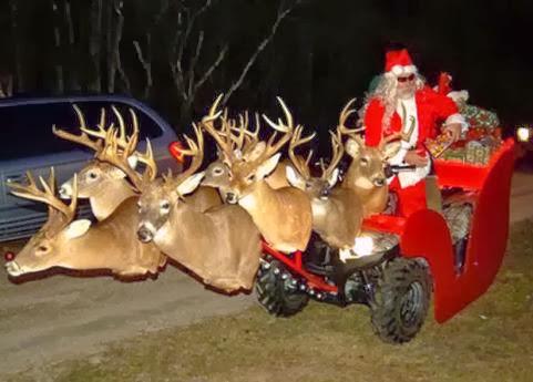 Deer Head Santa Sleigh