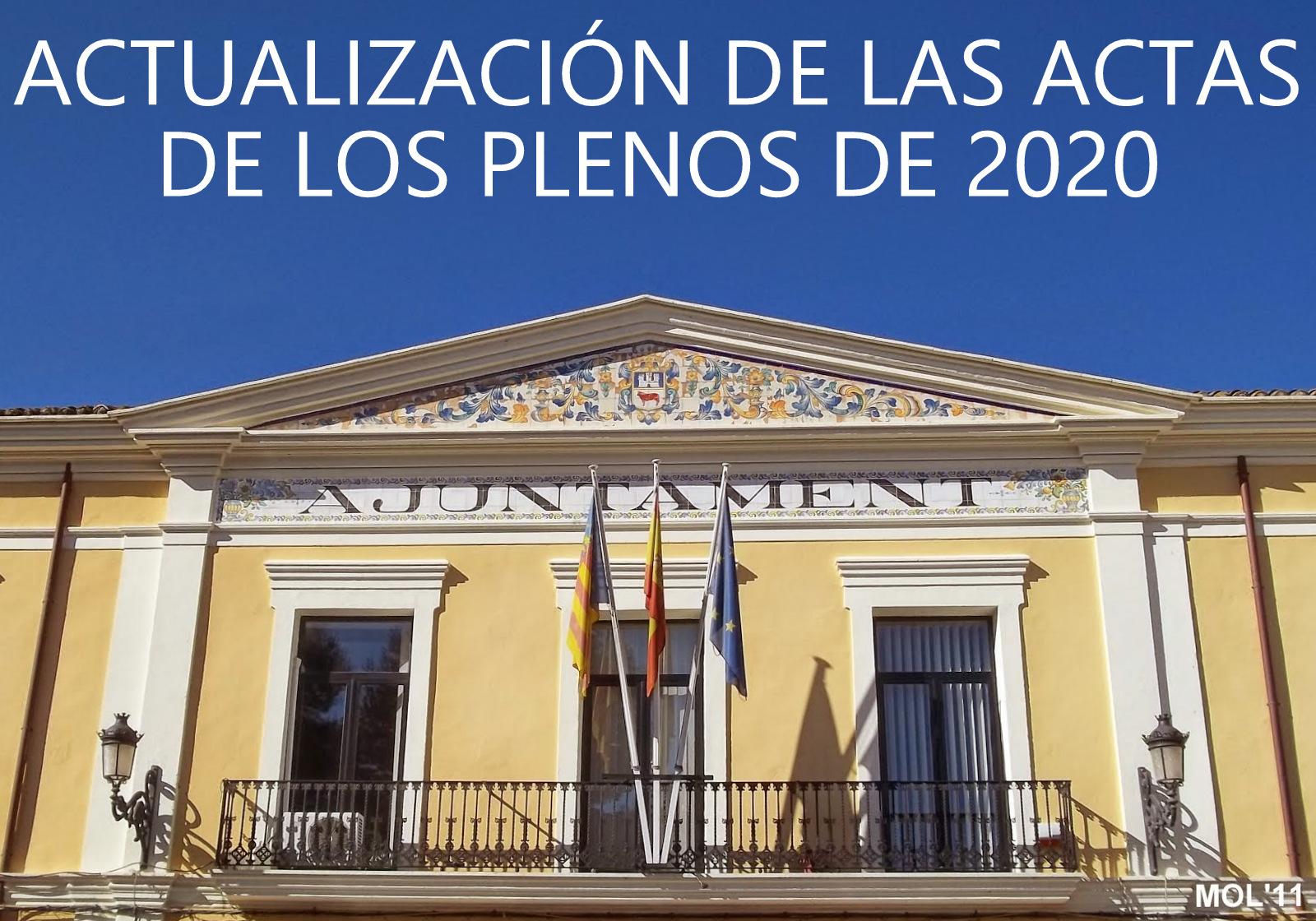 ACTUALIZACIÓN DE LAS ACTAS DE LOS PLENOS CELEBRADOS EN 2020