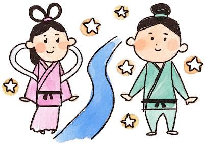 織姫と彦星と天の川のイラスト(七夕)