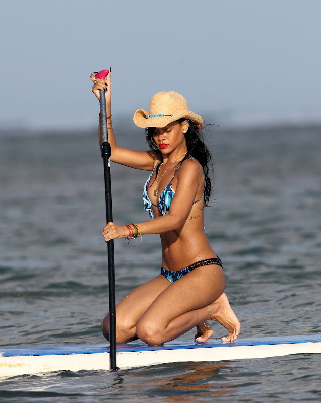 Rihanna on a paddle board in Hawaii