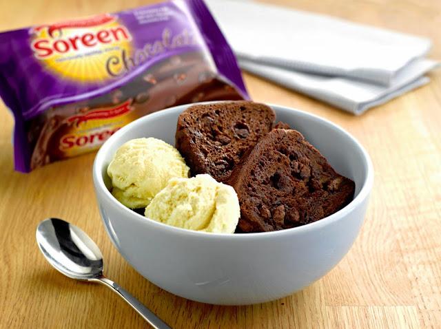 Soreen Chocolate Loaf with vanilla ice-cream