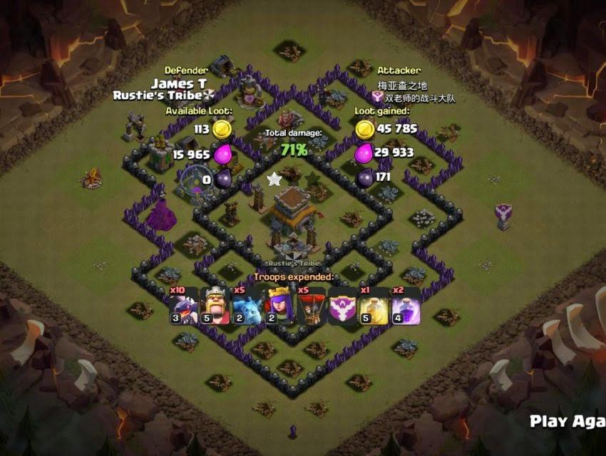 Hasil War Base Clash of Clans Th 8 Anti Naga