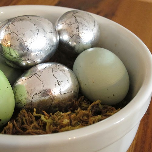 DIY Antiqued Silver Eggs by Just Crafty Enough