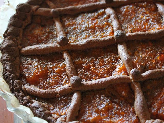 crostata di castagne con marmellata di zucca e lavanda
