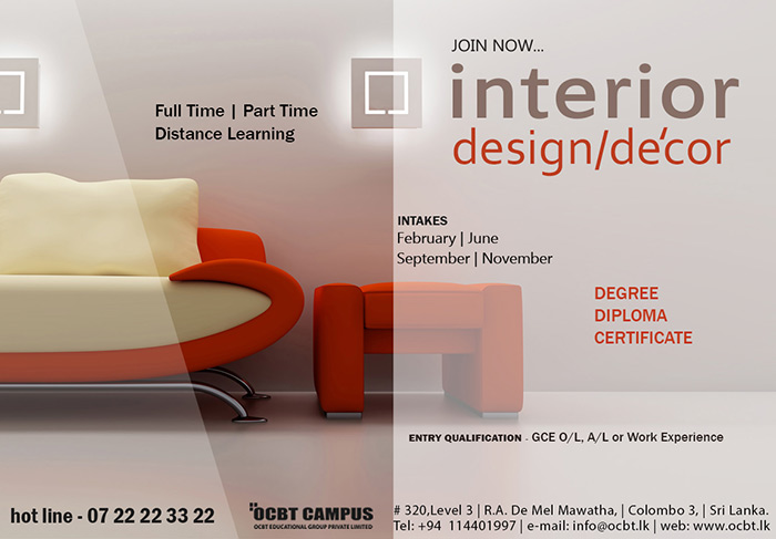 Study interior design decoration ocbt powercampaigner for Interior design decoration diploma