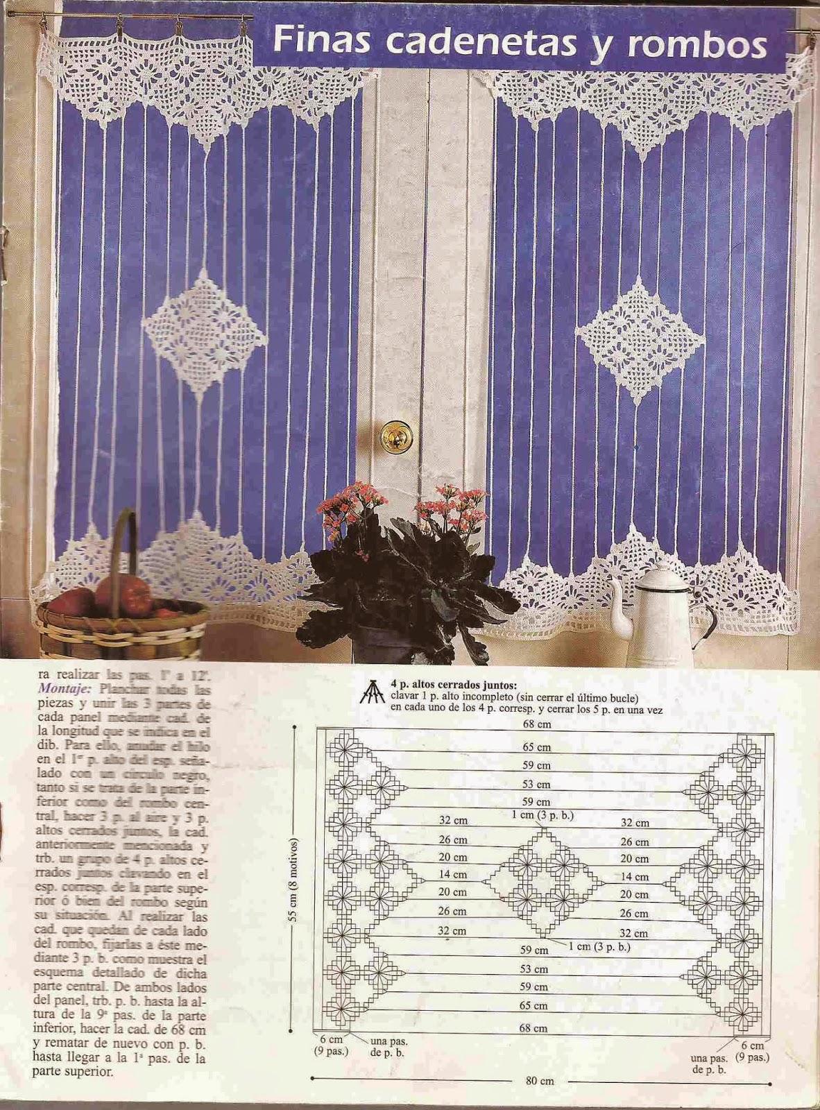 "#83 Cortina a Crochet ""Finas Cadenetas y Rombos"""