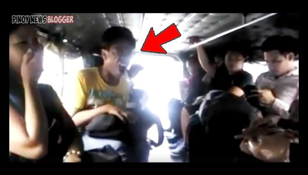 Teenager Dubsmashing throughout his Jeepney travel