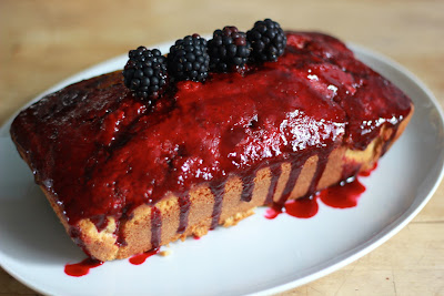 Hazelnut Cake with a Blackberry and Sloe Gin Glaze