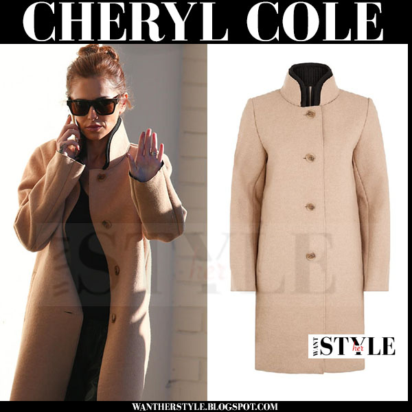 Cheryl Cole in camel Maje Grace coat what she wore streetstyle