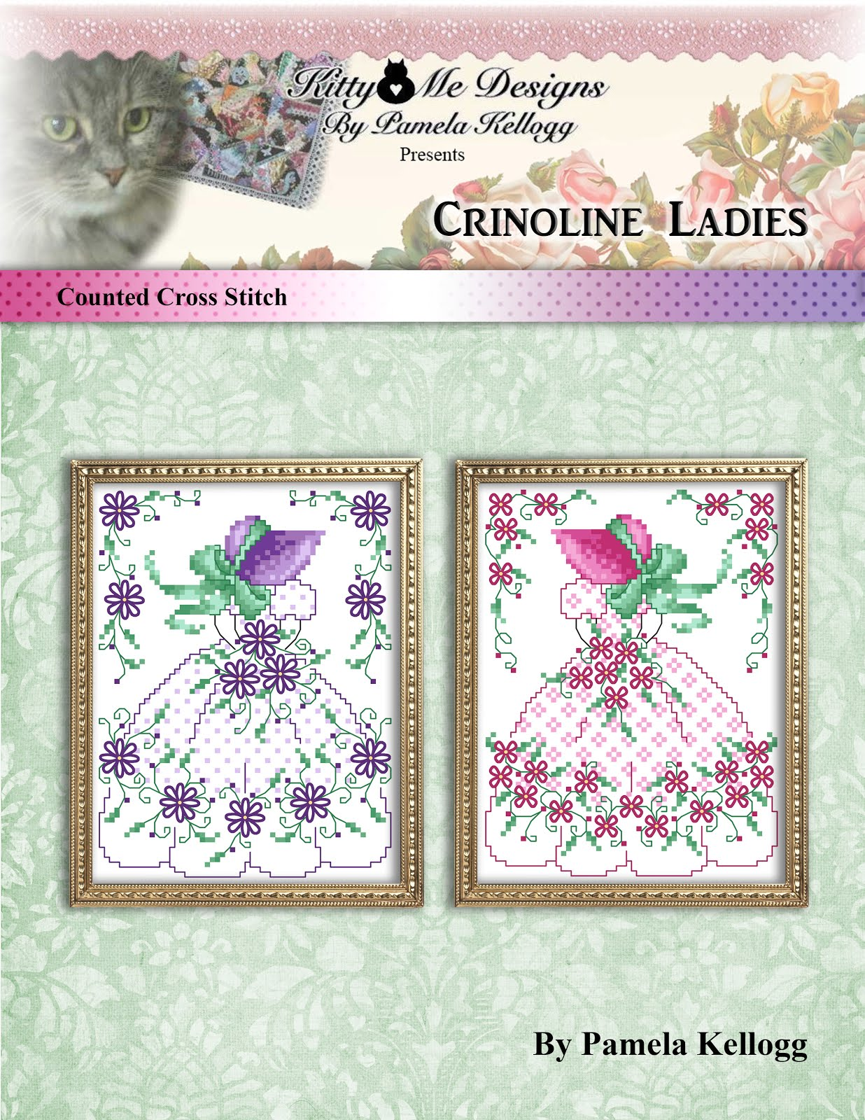 Crinoline Ladies Cross Stitch Pattern