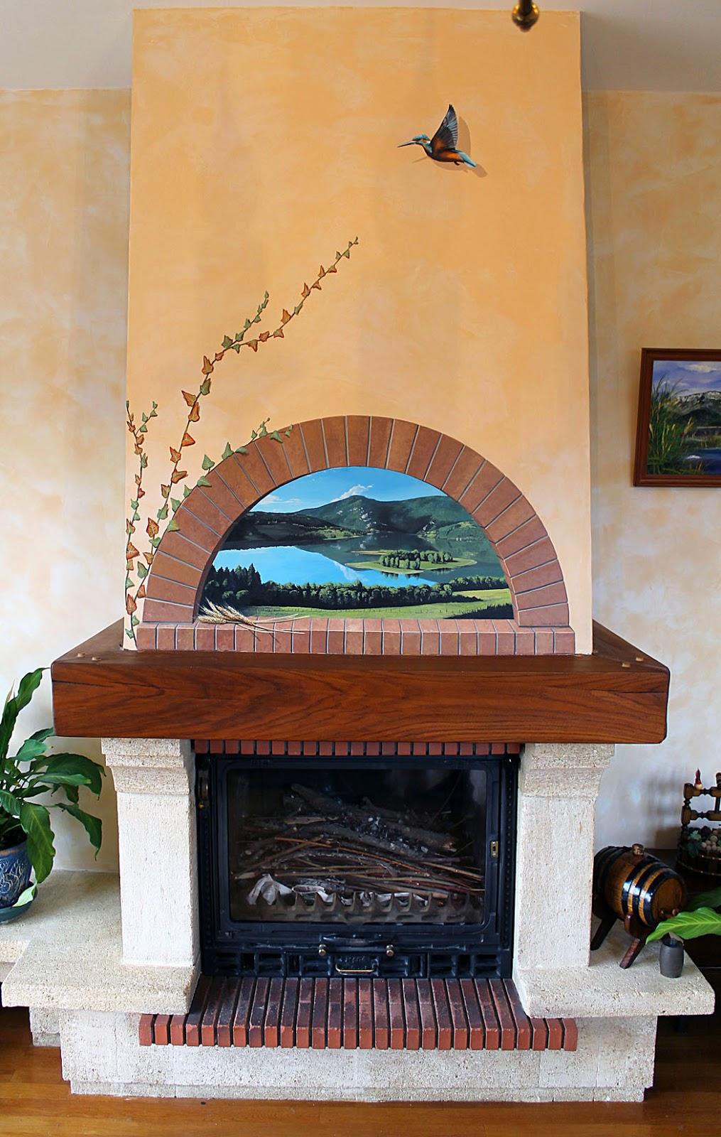Peintre d coratrice fresque trompe l 39 oeil tableau for Decoration hotte de cheminee