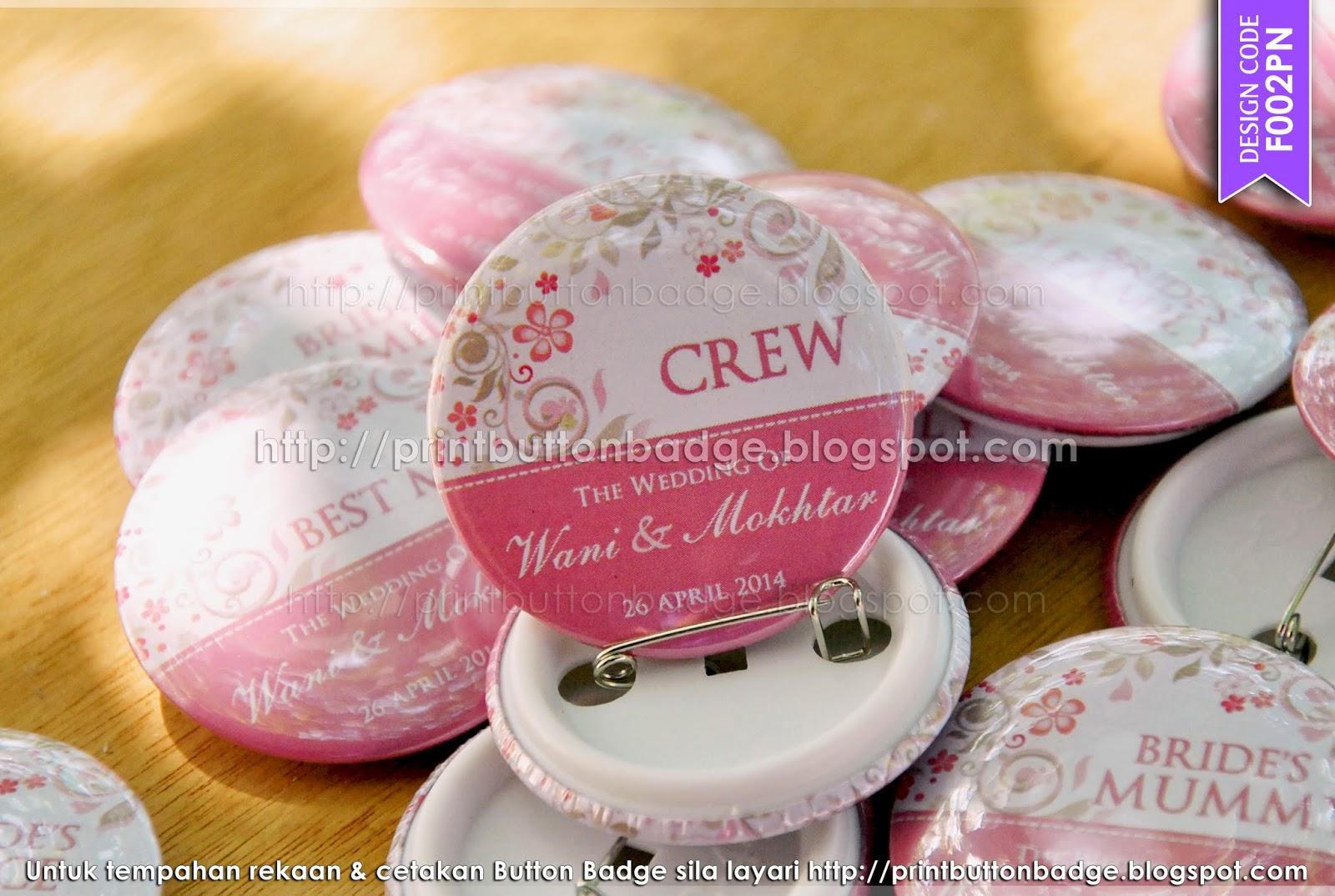 Cetakan Button Badge Kahwin
