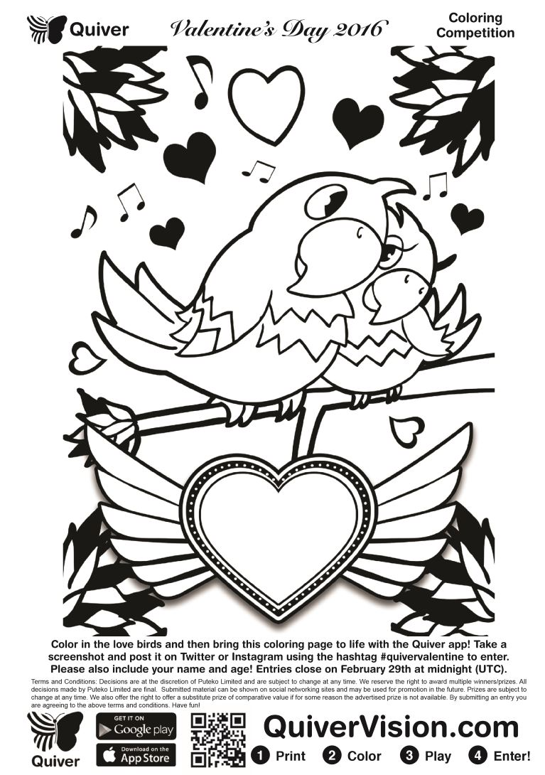 quiver coloring pages Diary of a Techie Chick: Quiver's #AugmentedReality Valentines  quiver coloring pages