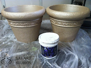 pale papaya silk soft, metallic paint, painted planters